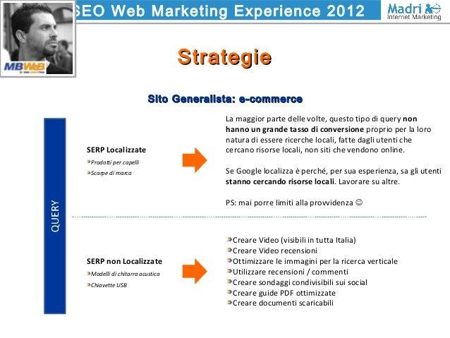 SEO Web Marketing Experience 2012 StrategieStrategie Sito Generalista: e-commerceSito Generalista: e-commerce Creare Video...