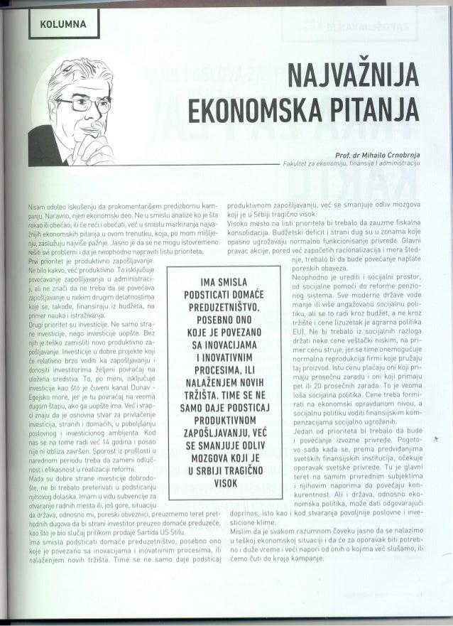 Prof. dr Mihailo Crnobrnja, Nova ekonomija, 1. 3. 2014.
