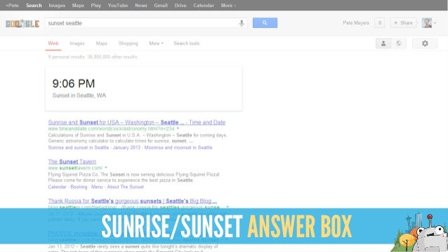 SUNRISE/SUNSET ANSWER BOX