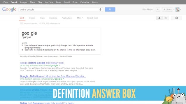 DEFINITION ANSWER BOX