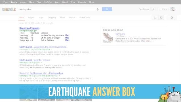 EARTHQUAKE ANSWER BOX