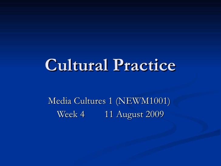 Cultural Practice Media Cultures 1 (NEWM1001)  Week 4  11 August 2009