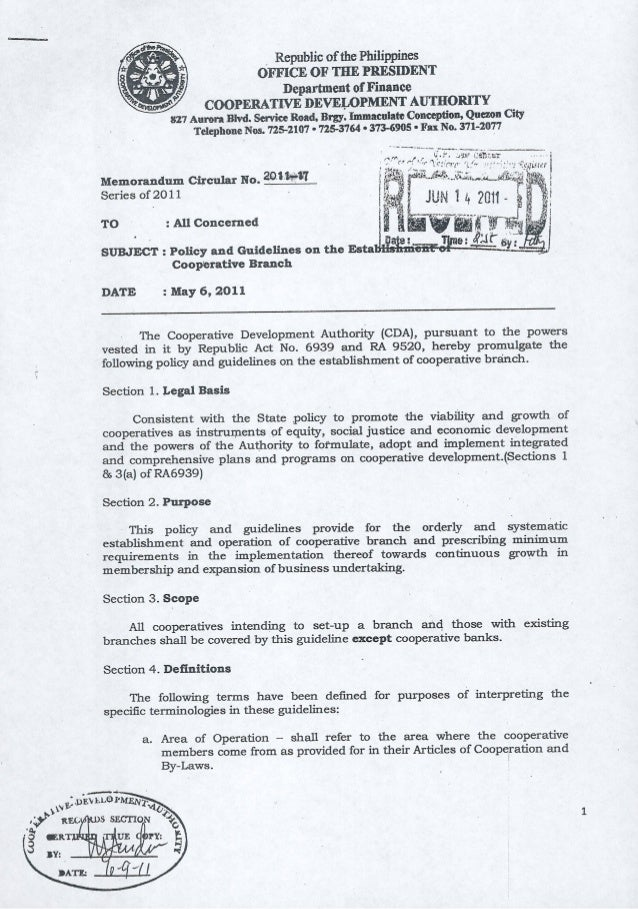 MC2011 17 Policy and Guidelines for the Establsihment of Cooperative Branch