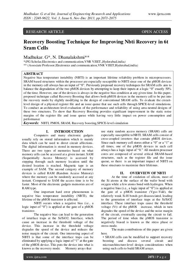 Madhukar. G et al Int. Journal of Engineering Research and Applications ISSN : 2248-9622, Vol. 3, Issue 6, Nov-Dec 2013, p...