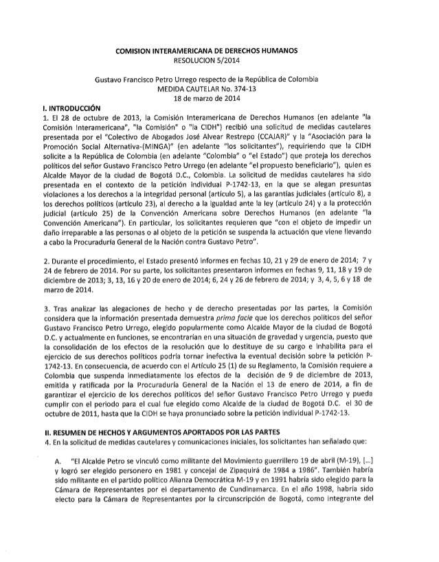 CIDH, confiere medidas cautelares a Gustavo Petro, Alcalde Bogotá