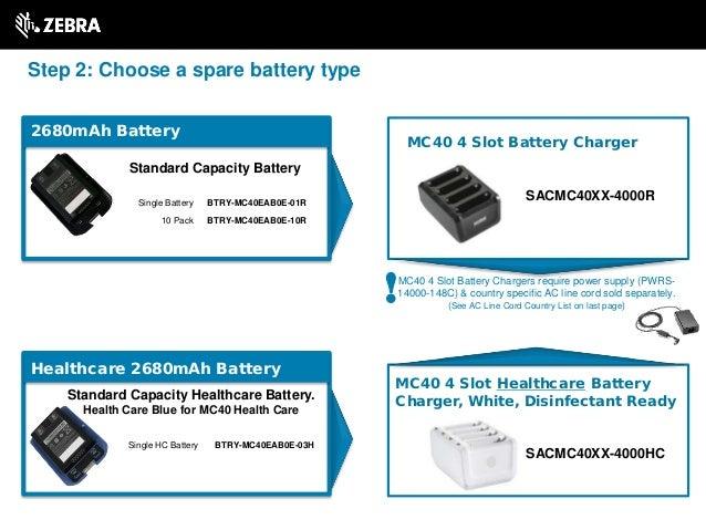 Standard Capacity Battery SACMC40XX-4000R MC40 4 Slot Battery Charger MC40 4 Slot Healthcare Battery Charger, White, Disin...