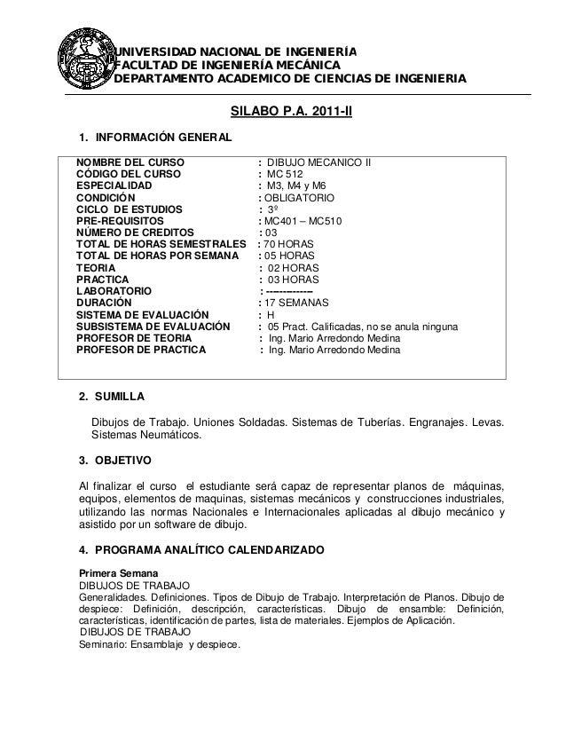 Worksheet. SILABO DE DIBUJO MECANICO 2 FIMUNI