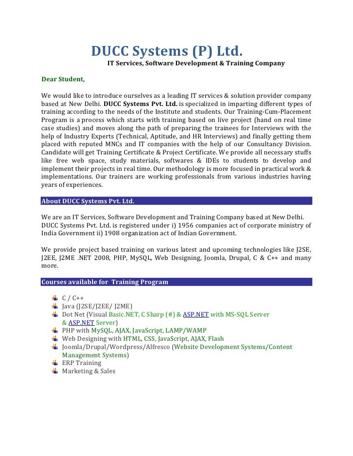 DUCC Systems (P) Ltd.                      IT Services, Software Development & Training CompanyDear Student,We would like ...
