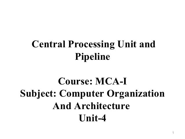 central processing unit and pipeline