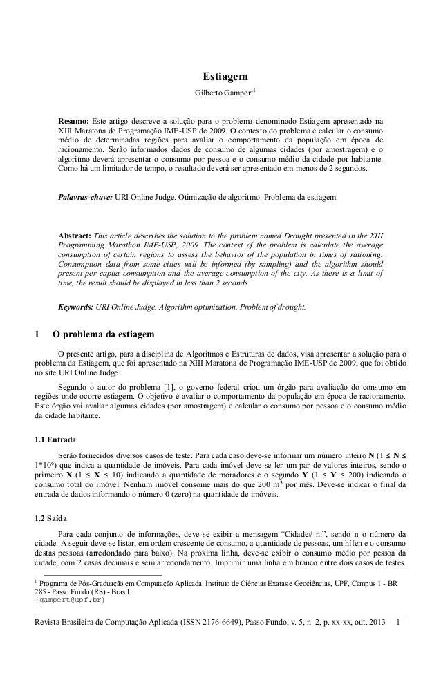 Revista Brasileira de Computação Aplicada (ISSN 2176-6649), Passo Fundo, v. 5, n. 2, p. xx-xx, out. 2013 1 Estiagem Gilber...
