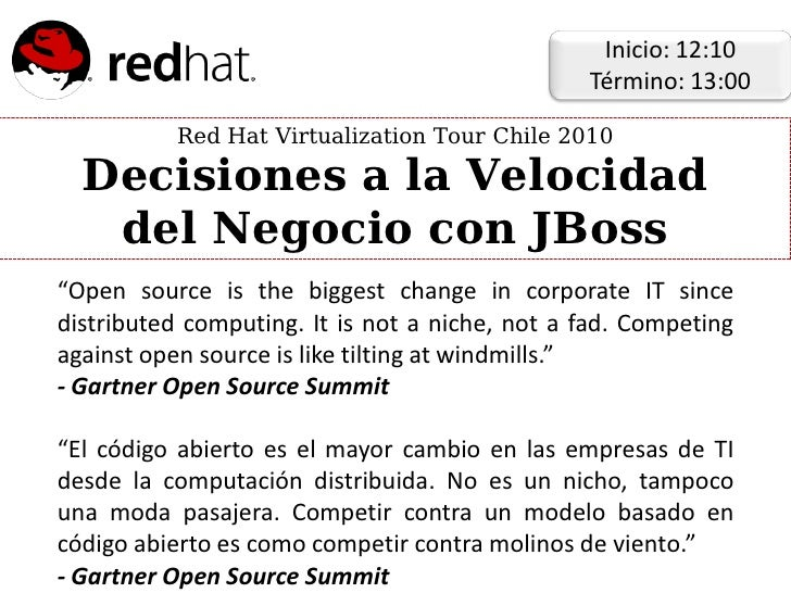 Inicio: 12:10                                                 Término: 13:00            Red Hat Virtualization Tour Chile ...