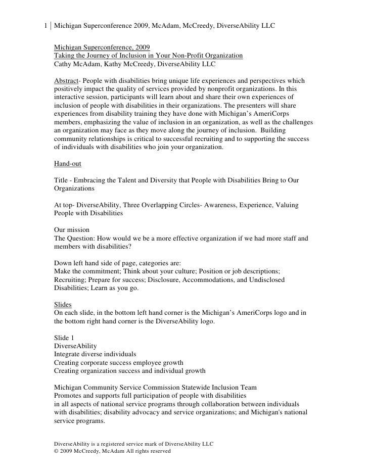 1 Michigan Superconference 2009, McAdam, McCreedy, DiverseAbility LLC     Michigan Superconference, 2009    Taking the Jou...