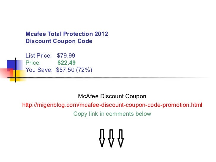 Mcafee coupons and promotions