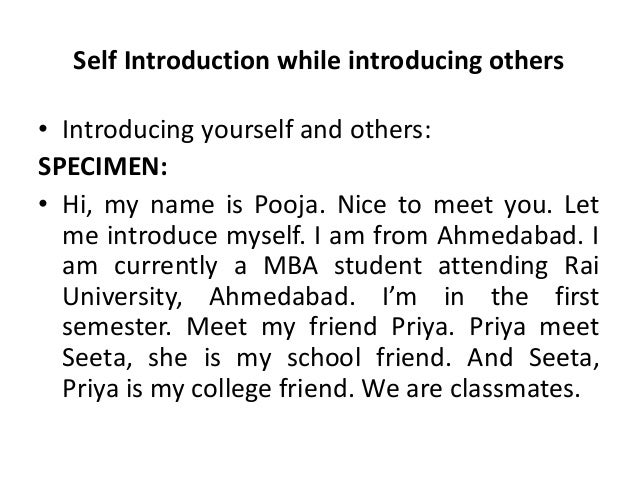 how to give introduction about yourself in college