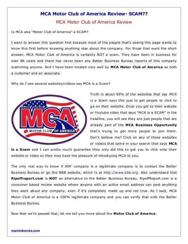 Mca motor club of america review for Motor club of america better business bureau