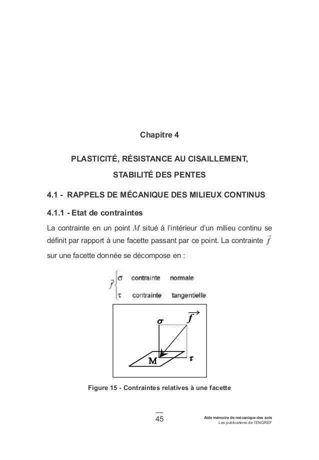 45 Aide mémoire de mécanique des sols Les publications de l'ENGREF Chapitre 4 PLASTICITÉ, RÉSISTANCE AU CISAILLEMENT, STAB...