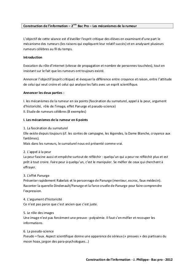 Construction de l'information - J. Philippe - Bac pro - 2012  Construction de l'information – 2nde Bac Pro – Les mécanisme...