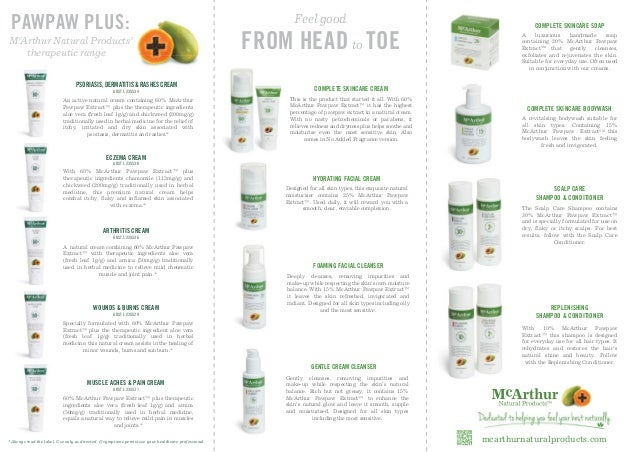 McArthur Natural Products A4 tri-fold Product Brochure Slide 2