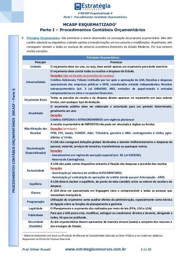 # MCASP Esquematizado # Parte I - Procedimentos Contábeis Orçamentários Prof. Gilmar Possati www.estrategiaconcursos.com.b...
