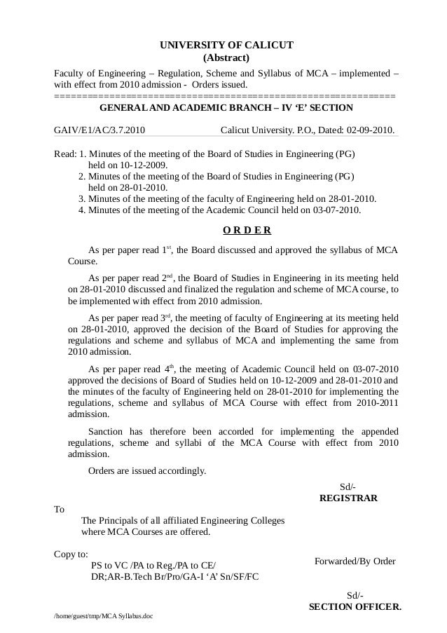 UNIVERSITY OF CALICUT (Abstract) Faculty of Engineering – Regulation, Scheme and Syllabus of MCA – implemented – with effe...