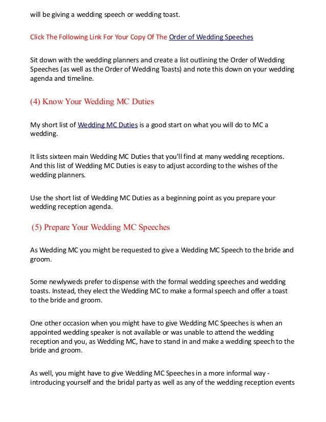 Wedding speech order of events time order essay