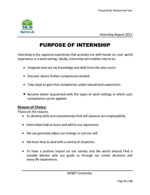 Purpose of internship report