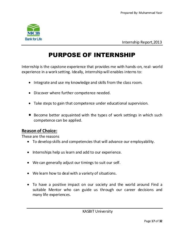 Mcb Bank Internship Report 2013