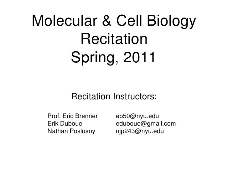 Molecular & Cell Biology      Recitation     Spring, 2011          Recitation Instructors:  Prof. Eric Brenner   eb50@nyu....