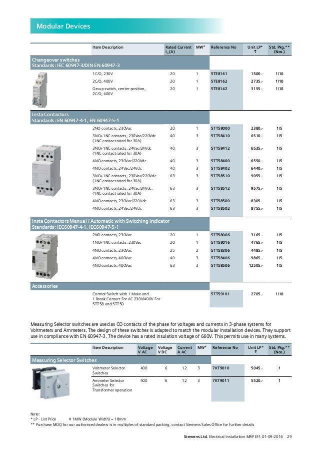 Mcb Price List Electrical Installations A To Z W E F 1st