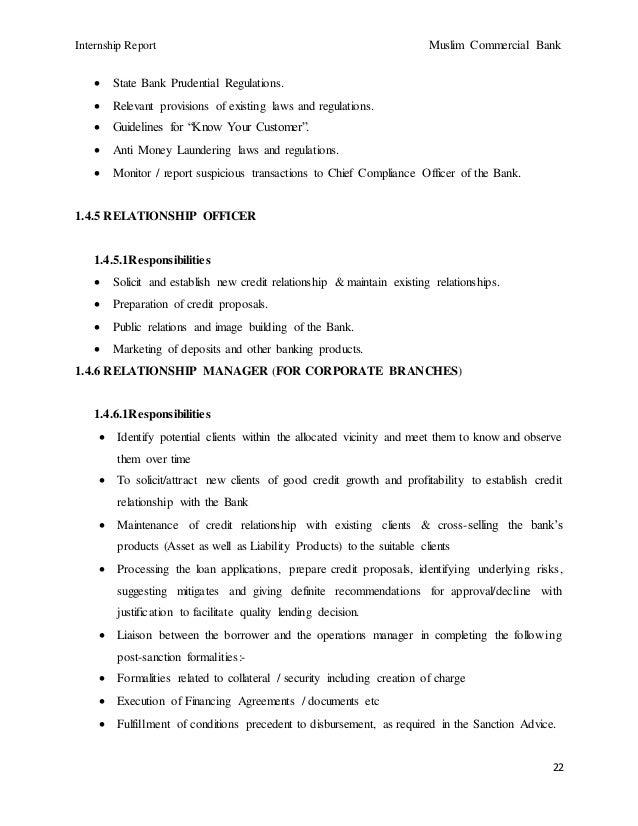 Mcb report - Compliance officer job description bank ...