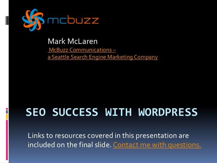 Search Engine Optimization Success with WordPress slideshare - 웹