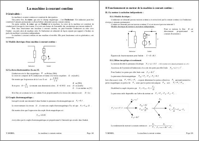 La machine à courant continu I Généralités : La machine à courant continu est constitué de deux parties. Une partie fixe, ...