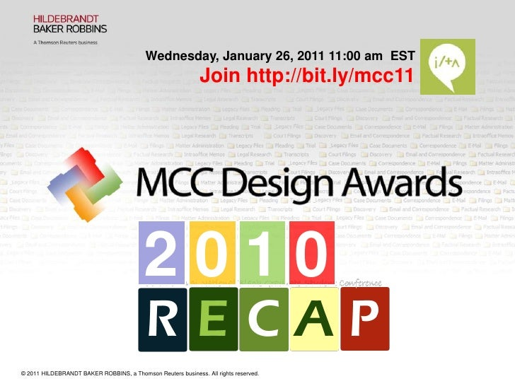 Wednesday, January 26, 2011 11:00 am  EST<br />Join http://bit.ly/mcc11<br />2<br />0<br />1<br />0<br />© 2011 HILDEBRAND...