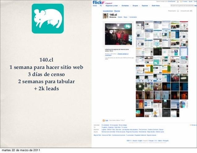 140.cl 1 semana para hacer sitio web 3 días de censo 2 semanas para tabular + 2k leads martes 22 de marzo de 2011