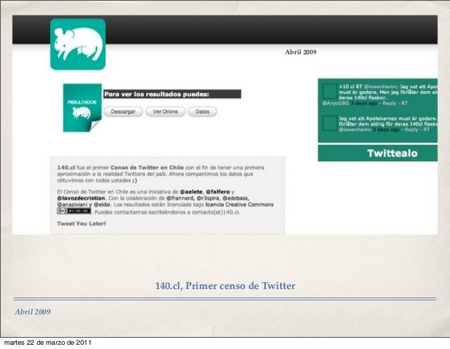 Abril 2009 Abril 2009 140.cl, Primer censo de Twitter martes 22 de marzo de 2011