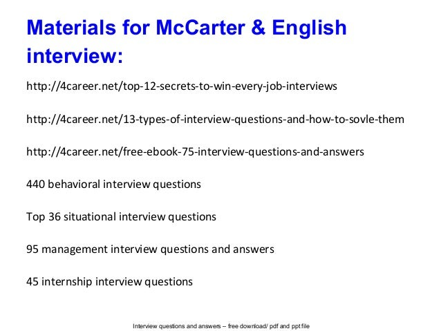 Mc Carter English Interview Questions And Answers