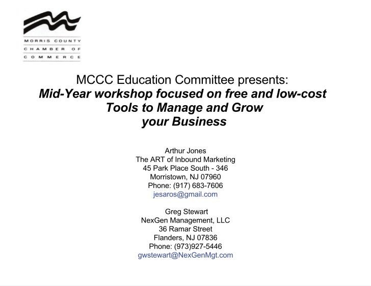 Mccc free tools workshop