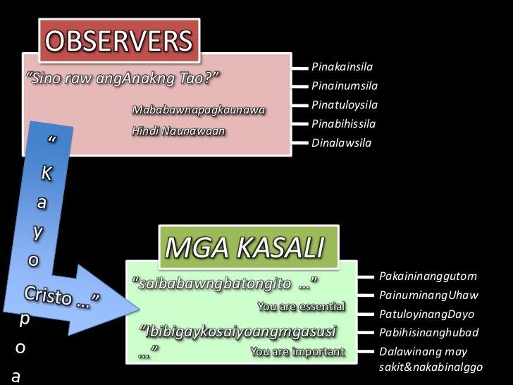 """OBSERVERS<br />Pinakainsila<br />""""Sino raw angAnakng Tao?""""<br />Pinainumsila<br />Pinatuloysila<br />Mababawnapagkaunawa<b..."""
