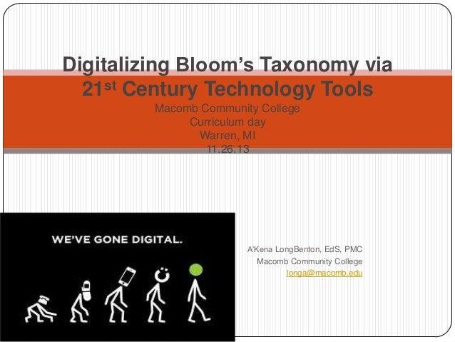 Digitalizing Bloom's Taxonomy via 21st Century Technology Tools Macomb Community College Curriculum day Warren, MI 11.26.1...
