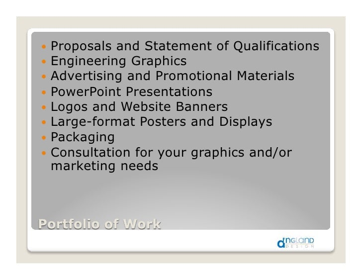 !! Proposals and Statement of Qualifications !! Engineering Graphics !! Advertising and Promotional Materials !! PowerPoin...