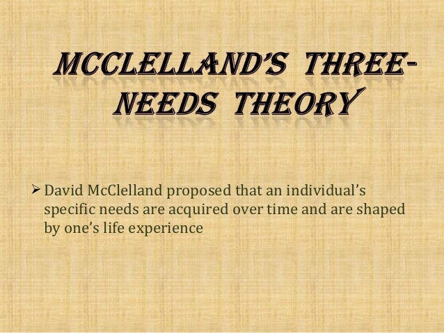 david mcclelland theory of needs pdf