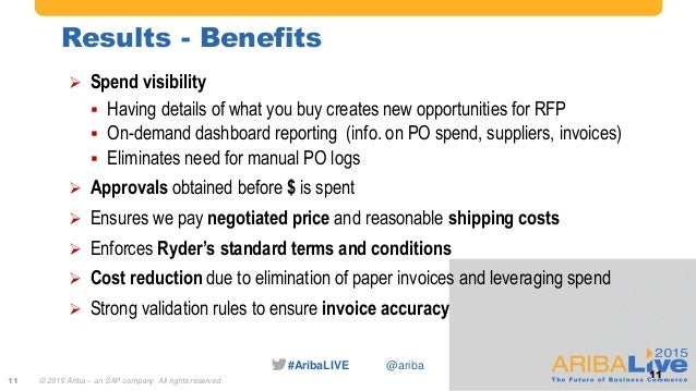 #AribaLIVE @ariba Results - Benefits 11  Spend visibility  Having details of what you buy creates new opportunities for ...