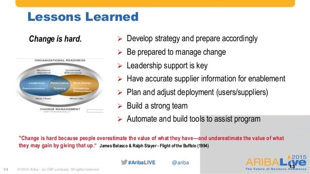 """#AribaLIVE @ariba Lessons Learned """"Change is hard because people overestimate the value of what they have—and underestimat..."""