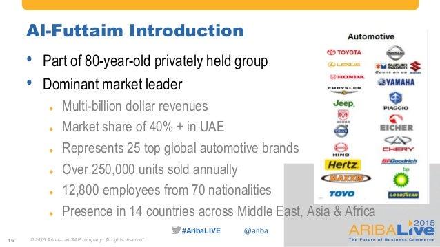 #AribaLIVE @ariba Al-Futtaim Introduction • Part of 80-year-old privately held group • Dominant market leader  Multi-bill...