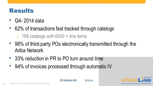 #AribaLIVE @ariba Results • Q4- 2014 data • 62% of transactions fast tracked through catalogs  168 catalogs with 6000 + l...