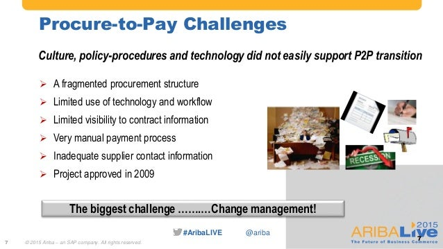 #AribaLIVE @ariba Procure-to-Pay Challenges 7 Culture, policy-procedures and technology did not easily support P2P transit...