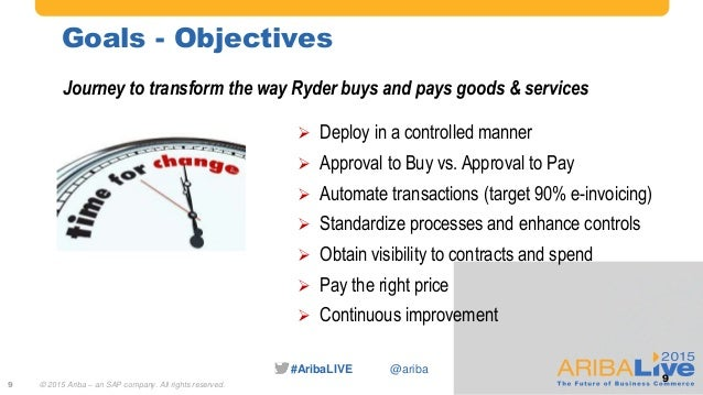 #AribaLIVE @ariba Goals - Objectives 9 Journey to transform the way Ryder buys and pays goods & services  Deploy in a con...