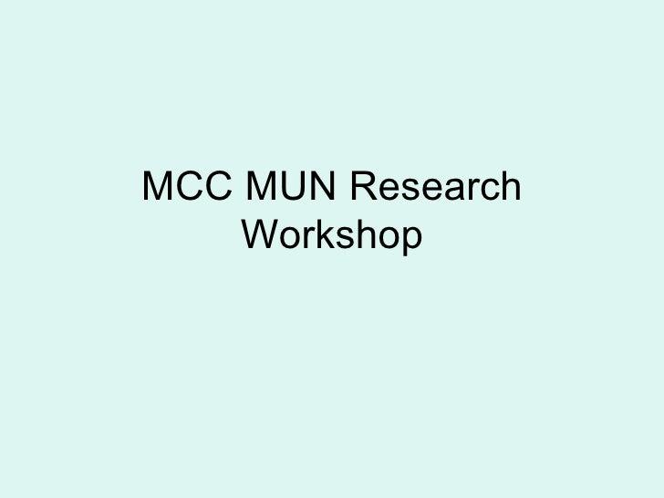 MCC MUN Research Workshop