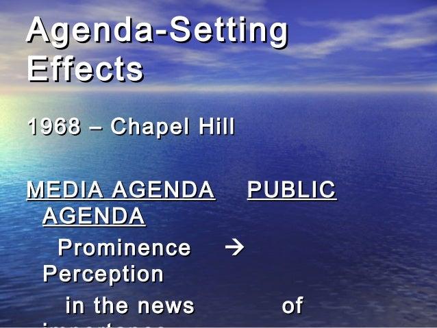 Agenda-SettingAgenda-Setting EffectsEffects 1968 – Chapel Hill1968 – Chapel Hill MEDIA AGENDAMEDIA AGENDA PUBLICPUBLIC AGE...