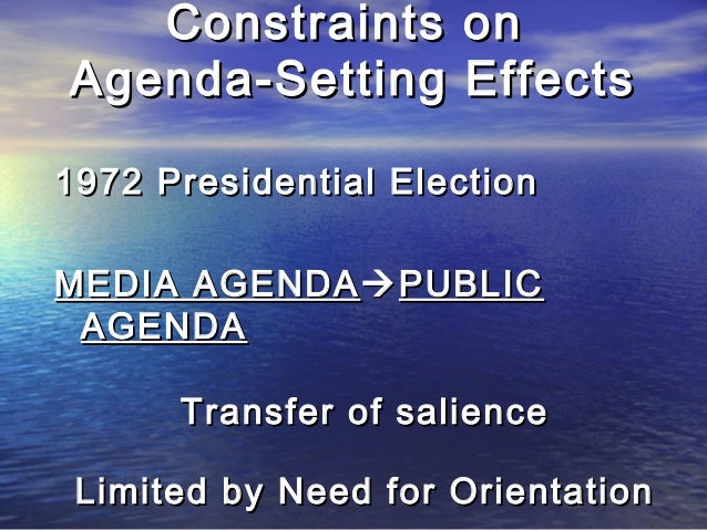 Constraints onConstraints on Agenda-Setting EffectsAgenda-Setting Effects 1972 Presidential Election1972 Presidential Elec...